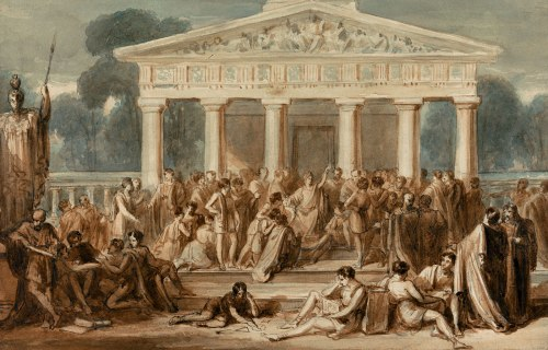 Hypatia-Teaching-Alexandria-watercolour-paper-Robert-Trewick